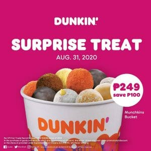 Dunkin Donuts - ₱100 Off Assorted Munchkin Bucket