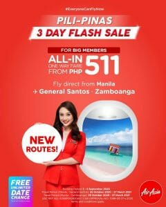 AirAsia - 3-Day Flash Sale: All-In One Way Fare From ₱511
