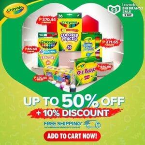 Crayola - 9.9 Lazada Big Brands Sale: Up to 50% Off + 10% Discount