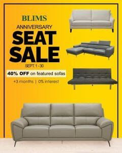 Blims - Anniversary Seat Sale: Save 40% Off on Featured Sofas + 3 Months of 0% Interest