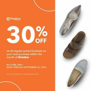Payless - One Single-Receipt Transaction in September, Get 30% Off on Next Purchase in October