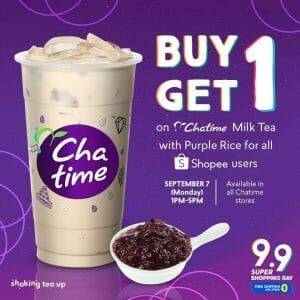 Chatime - 9.9 Shopee Super Shopping Day: Buy 1, Get 1 Milk Tea with Purple Rice