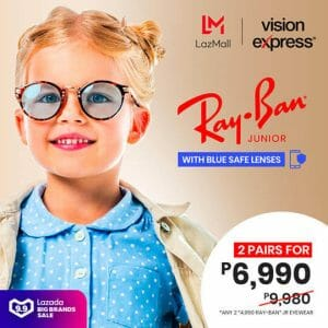 Vision Express - 9.9 Lazada Big Brands Sale: Two Pairs Ray-Ban Junior Eyewear + Blue Safe Lenses for ₱6,990