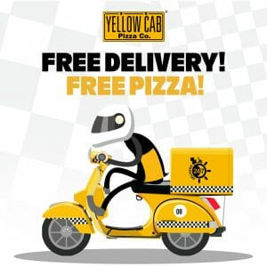 """Yellow Cab Pizza - FREE Delivery and a FREE 9"""" Cheese Pizza When You Order Worth ₱799"""