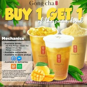 Gong cha - Buy 1, Get 1 Promo for Mango Drinks