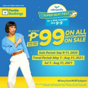 Cebu Pacific - 9.9 Super Seat Fest: Pay As Low As ₱99 on All Destinations