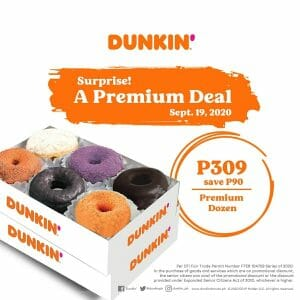 Dunkin Donuts - Dozen Premium Donuts for ₱309 (Save ₱90)