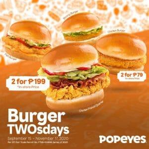 Popeyes - Burger TWOsdays: Buy 1, Get 1 Burgers