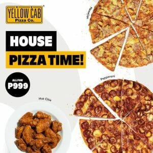 """Yellow Cab Pizza - Get Two 9"""" Classic Pizzas + 16 pcs. Wings for ₱999"""