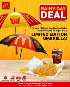 McDonald's - FREE Limited Edition McDo Umbrella for Every Purchase of 1-pc Chicken McDo with Rice & Coke No Sugar