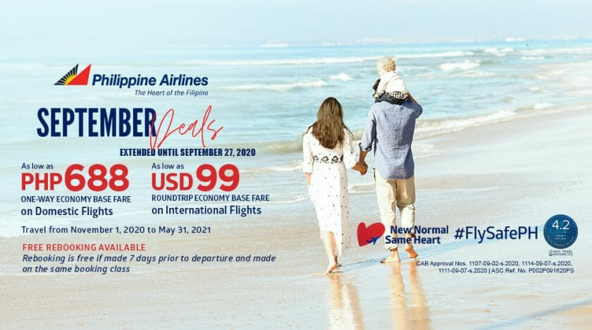 Philippine Airlines - September Deals: EXTENDED- ₱688 One-way Domestic Flights and $99 Roundtrip International Flights