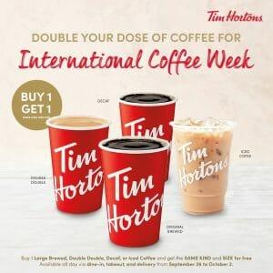 Tim Hortons - International Coffee Week: Buy 1, Get 1 Large Coffee