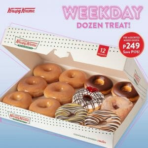 Krispy Kreme - Weekday Dozen Treat: 6 Original Glazed and 6 Pre-assorted Doughnuts for only ₱249 (Save ₱176)