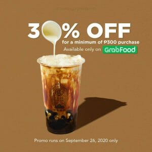 Tiger Sugar - Get 30% Off with Minimum Purchase of ₱300 via GrabFood