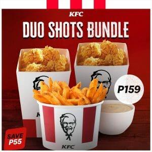 KFC - Duo Shots Bundle: 2 Regular Fun Shots, 1 Bucket of Fries, and 1 Large Gravy for ₱159 (Save ₱55)