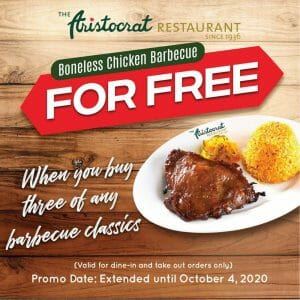 The Aristoctrat Restaurant - EXTENDED: Buy 3 Barbeque Classics and Get a FREE Boneless Chicken Barbeque