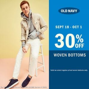 Old Navy - Get 30% Off Promo on Woven Bottoms and Dresses