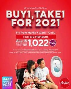 AirAsia - Buy 1, Take 1 One Way Air Fare (For BIG Members)