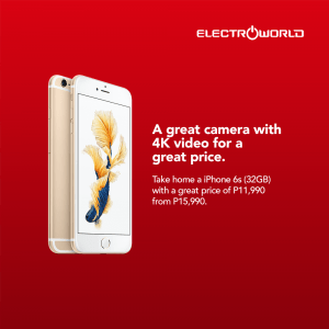Electroworld - iPhone 6S at ₱11,990 (Was ₱15,990)