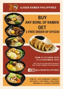 Ajisen Ramen - Buy Any Bowl of Ramen and Get 1 FREE Gyoza Order