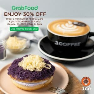 J.CO Donuts & Coffee - Get 30% Off (Use Voucher Code) via GrabFood, 11 am to 3 pm Only