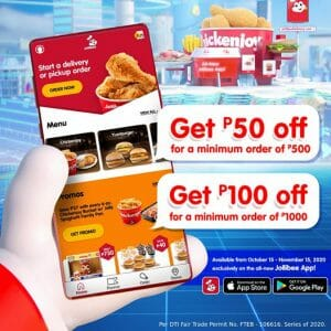 Jollibee - Get Up to ₱100 Off When You Order via the Jollibee App