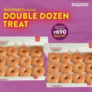 Krispy Kreme - DOUBLE DOZEN of Original Glazed Doughnuts for ₱690 via GrabFood (Save ₱90)