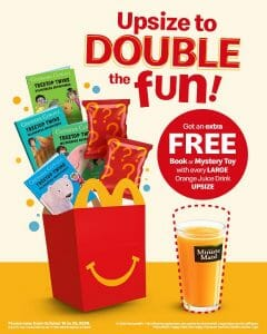 McDonald's - FREE Happy Meal Readers Book or Mystery Toy with Every Orange Juice Upgrade