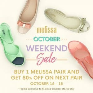 Melissa - October Weekend Sale: Buy 1, Get the Next Pair at 50% Off