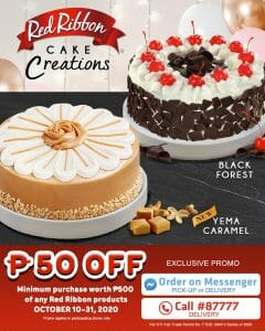 Red Ribbon - Get ₱50 Off When You Purchase Red Ribbon Products