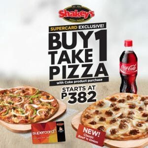 Shakey's - Supercard Exclusive: Buy 1, Take 1 Pizza Starting at ₱382