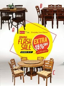 SOGO Home & Office Center - Dining Flash Sale: Get an Extra 15% Off on Dining Sets