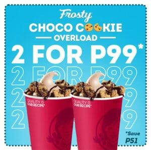Wendy's - 10.10 Deal: Two Frosty Choco Cookie Overload for ₱99