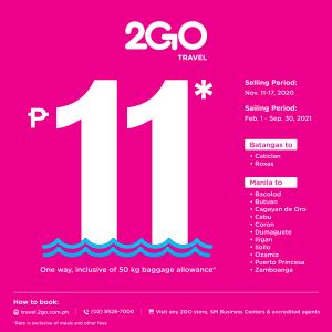 2GO Travel - ₱11 Fare to 15 Domestic Destinations