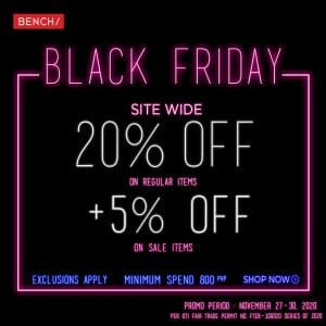 Bench - Black Friday Sale: Get Up to 20% Off + Additional 5% Off on Sale Prices + FREE Shipping