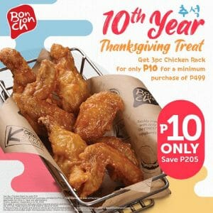 Bonchon Chicken - Get 3-Pc Chicken Rack for ₱10 For Min. Spend of ₱499