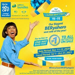 Cebu Pacific - 11.11 Deal: All Destinations For As Low As ₱1 + Up to 40% Off on Fare Bundles