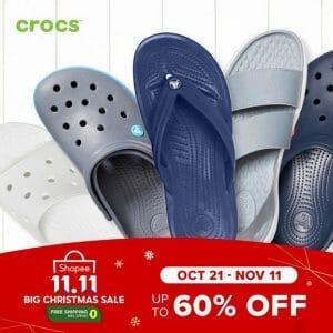 Crocs - 11.11 Deal: Up to 60% Off on Footwear via Shopee