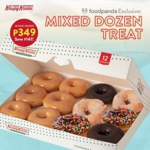 Krispy Kreme - Mixed Dozen Treat for ₱349 (Save ₱141) via Foodpanda