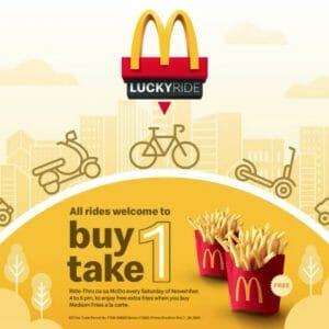 McDonald's - Lucky Ride Promo: Buy 1, Take 1 Medium Fries All Saturdays of November