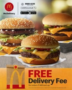 McDonald's - FREE Delivery Fee for Orders ₱400 and Up via McDelivery