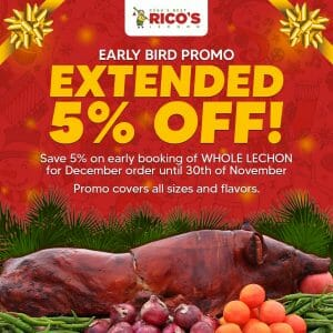 Rico's Lechon - Save 5% Off on Early Booking of Whole Lechon
