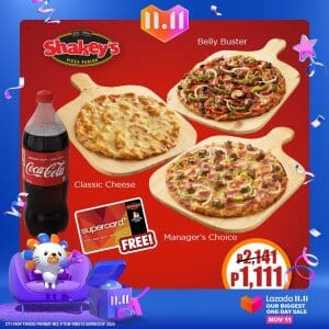 Shakey's - 11.11 Deal: Pizza Party Bundle for only ₱1,111 (Save ₱1,030) via Lazada 