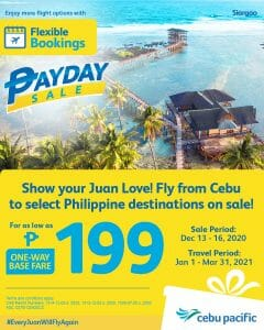Cebu Pacific Air - Payday Sale: As Low As ₱199 One-Way Base Fare from Cebu to Select Domestic Destinations