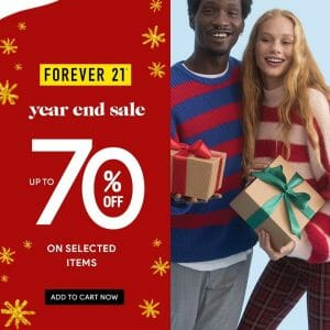 Forever 21 - Year End Sale: Up to 70% Off on Selected Items