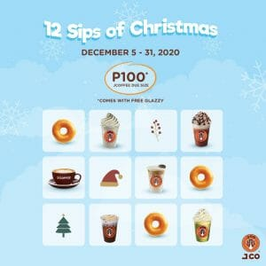 J.CO Donuts & Coffee - 12 Sips of Christmas: J.Coffee and Glazzy Donut for ₱100