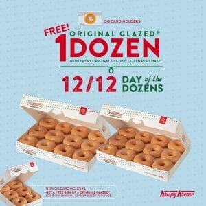 Krispy Kreme - 12.12 Deal: FREE Half Dozen Original Glazed Doughnuts (1 Dozen for OG Card Holders) for Every 1 Dozen Purchase