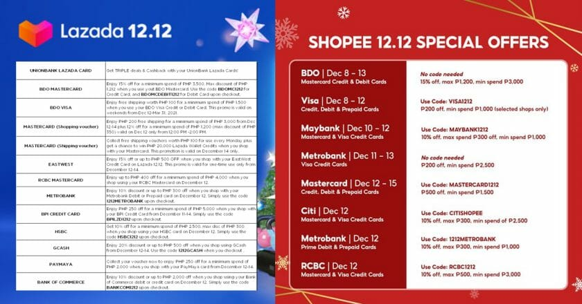 You're Welcome: Check Out the List of Lazada and Shopee 12.12 Bank Promotions