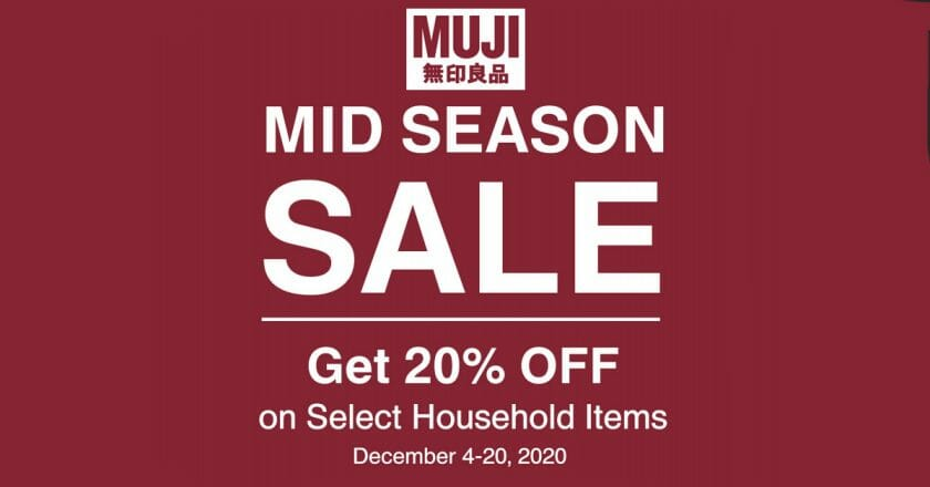 Muji - Mid Season Sale: Get 20% Off on Select Household Items