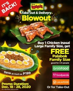 Mang Inasal - It's Back: FREE Palabok Family Size for Every Purchase of Chicken Inasal Large Family Size